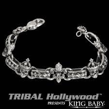 skull link bracelet images Crowned skull fleur de lys king baby link bracelet tribal hollywood gif