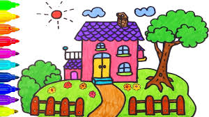 House For House How To Draw House Coloring Pages Drawing For Children Learning