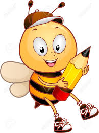bumblebee clipart cartoon character pencil and in color