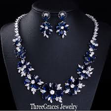 diamond blue necklace images Threegraces luxury bridal cz necklace earrings royal blue crystal jpg