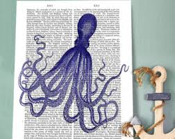 Octopus Bathroom Accessories by Blue Octopus Print Etsy