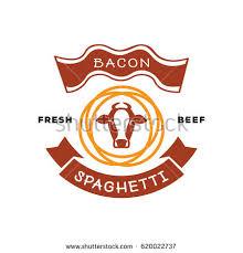 bacon ribbon fresh bacon spaghetti logo pig noodle stock vector 620022737