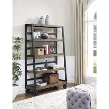 Rolling Ladder Bookcase by Ameriwood Wade Rustic Gray Mobile Ladder Bookcase 9660196com The