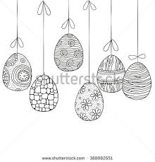 background hanging easter eggs handdrawn decorative stock vector