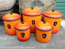 orange kitchen canisters kitchen canisters orange vintage set of enamel kitchen canisters