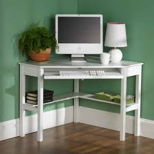 White Minimalist Corner Computer Desk With Keyboard Tray Imac And