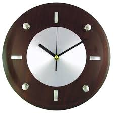 timekeeper products 10 3 4 in glass and brown wood wall clock