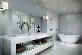 bathroom wallpaper hi def floating teak vanity and white sinks