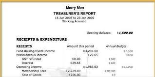 treasurer s report agm template treasurer report template issue portrayal non profit idea inside