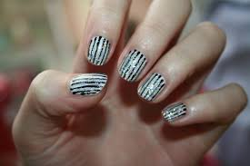 nail art white gel nails with black and pink stripes most amazing