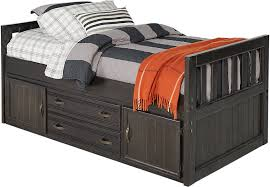 rooms to go twin beds creekside charcoal 3 pc twin captain s bed beds colors