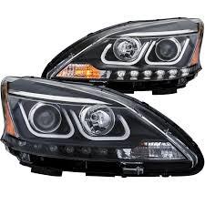 nissan sentra black anzo usa nissan sentra 13 15 projector headlights u bar black clear