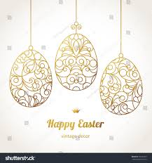 golden ornamental eggs your easter design stock vector 260127953