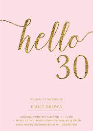 30th birthday invitation modern gold foil hello 30 by prettypress