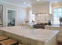 interior modern false red brick backsplash kitchen design with