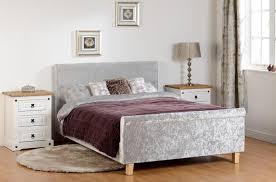 Velvet Sleigh Bed Shelby 4 6 Sleigh Bed High Foot End In Grey Crushed Velvet