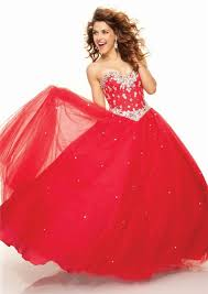 gown sweetheart floor length red tulle prom dress with beading