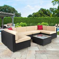 Rattan Settee 7pc Outdoor Patio Garden Wicker Furniture Rattan Sofa Set Modern