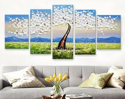 5 piece canvas wall art hand painted palette knife oil 82 best flower hand painted wall painting palette knife wild flower