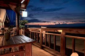 beach house restaurant view sunset dusk wood material free