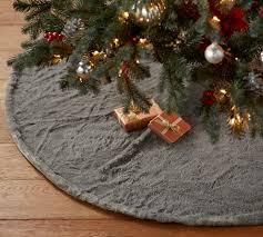 quail faux fur tree skirt gray pottery barn