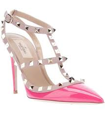 Light Pink Pumps Valentino Rockstud 100mm Light Pink Patent Leather Slingback Pumps