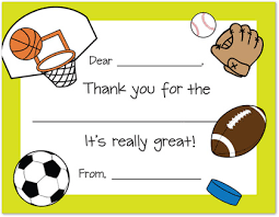 sports theme kids thank you fill in thank you cards stationery