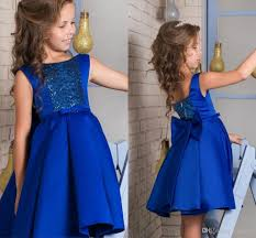 royal blue knee length short flower dresses for wedding
