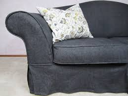 Black Sofa Slipcover by Something For The Road Chic Denim Cover For A Dated Sofa