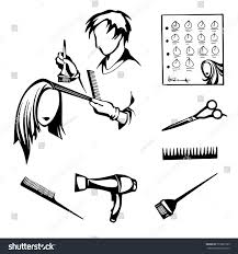 vector black white set tools hairdressers stock vector 518307709