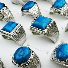 mens rings stones images Hot sale 20pcs wholesale jewelry lots turquoise stones silver jpg