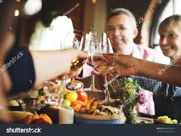 cheers celebrating thanksgiving concept stock photo