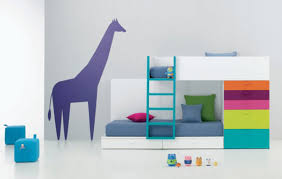bedroom modern interior design with flowery sheet bunk bed and