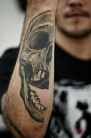 skull tattoo cut in half pairodicetattoos com