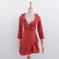 Summer star red chiffon christmas dress women ruffle party Vintage