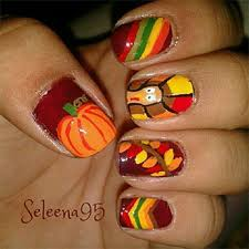orange tip with accent turkey design thanksgiving nail