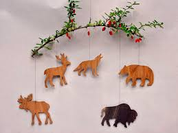 woodland animal ornaments coutouts wooden mobiles party favors