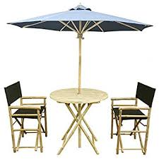 Bamboo Patio Set by Amazon Com Zew 4 Piece Bamboo Outdoor Bistro Patio Set With Round