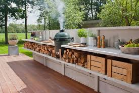 outdoor kitchen fancy decking floor and glass pool fence feat