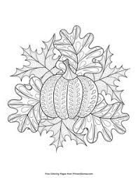 fall coloring page pumpkin and leaves free printable free and