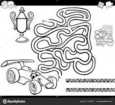 maze with race car coloring page u2014 stock vector izakowski 157800372