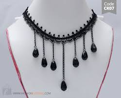 long choker necklace black images Black lace choker necklace black long chain beads for girls jpg