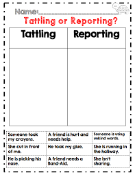 tattling or reporting back to 2nd grade activity being