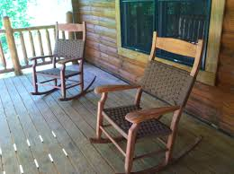Wooden Rocking Chairs by Front Porch Decoration Using Pair Of Black Stained Wooden Rocking
