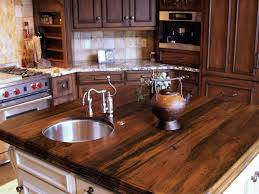 Kitchen Counter Backsplash White Kitchen Island With Wooden Countertop Dark Tone Cabinets