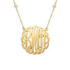 Gold Monogram Necklace Studded Chain Gold Vermeil Monogram Necklace