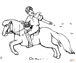 boy sowing seeds while riding a pony coloring page free