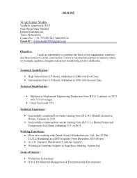 Experience For Resume No Work Experience Vivek Kumar Shukla