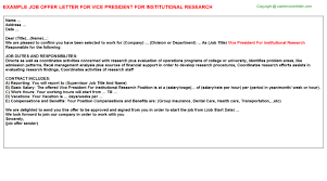 vice president for institutional research offer letter