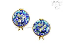 blue earrings castlecraft vintage earrings sapphire blue carnival glass